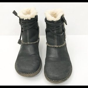 1ed078e8b85 UGG Ankle Boots Leather Sheepskin Brown Size 7 Tie